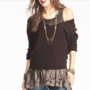Free People Oversized Striped V-Neck Sweater
